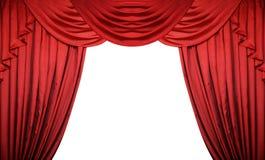 Öppna röda gardiner på vit bakgrund Teater- eller filmpresentation med utrymme för text Arkivfoto