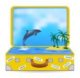 Öppna resväskan med en tropisk ö och en delfinbanhoppning ut ur vattnet vektor illustrationer