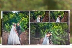 Öppna sidor av den bruna boken eller albumet för lyxläderbröllop royaltyfria foton