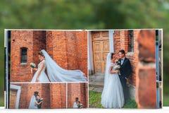 Öppna sidor av den bruna boken eller albumet för lyxläderbröllop royaltyfri foto