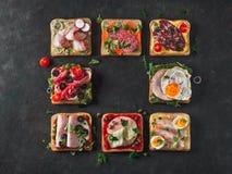 Öppna smörgåsar med olikt kött, kopieringsutrymme royaltyfria bilder