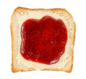 Öppna smörgåsen med smör och driftstopp arkivbilder