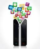Öppna smartphonen med applikationsymbolsillustrationen stock illustrationer