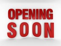 Öppna snart | Dörrstil Arkivbilder