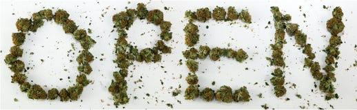 Öppna stavat med marijuana stock illustrationer