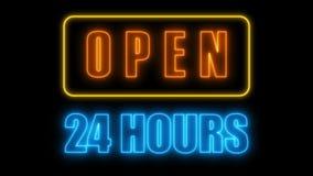 Öppna tecknet för neon 24-7, den retro stilskylten för stång, eller klubban, 3d framför datoren frambragd bakgrund royaltyfri illustrationer
