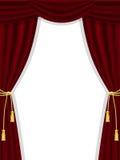 Öppna theatregardiner på vit Arkivbilder