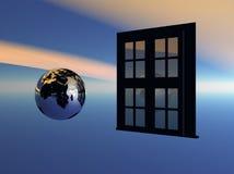 öppna till fönstervärlden Arkivbild