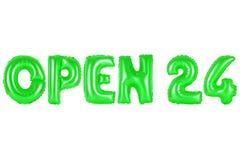 Öppna 24 timmar, grön färg Arkivbild