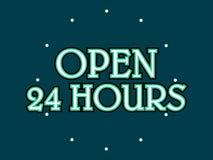 Öppna 24 timmar lagerför vektorn royaltyfri illustrationer