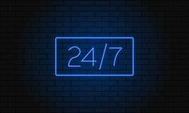 Öppna 24 7 timmar neonljus på tegelstenväggen också vektor för coreldrawillustration 24 timmar tecken för nattklubbstångneon Arkivbild