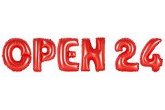 Öppna 24 timmar, röd färg Fotografering för Bildbyråer