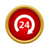 Öppna 24 timmar symbol, enkel stil stock illustrationer