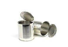 Öppna tomma cans Fotografering för Bildbyråer