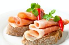 Öppna vände mot smörgåsar för Prosciutto Fotografering för Bildbyråer