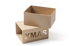 Öppna Xmas-gåvaasken på vit Arkivfoto
