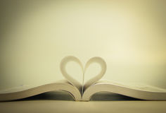 Öppnad bok med hjärtasidan Arkivbild