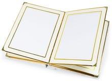Öppnad bok med tomma sidor och dekorativ ram för text Royaltyfria Bilder