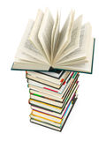 Öppnad bok på bunt Arkivfoton