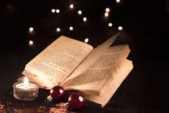 Öppnad bok på jul royaltyfria bilder