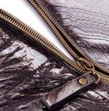 Öppnad Brown Zipper Royaltyfri Foto