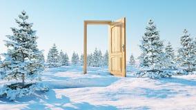 öppnad dörr En portal i vinter framförande 3d Arkivfoto