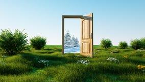 öppnad dörr En portalvinter till sommar, ändring av säsongbegreppet övergång framförande 3d Fotografering för Bildbyråer