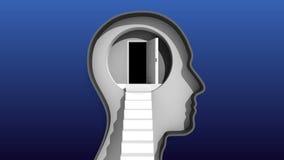 Öppnad dörr i mänskligt huvud och trappa till hjärnan stock illustrationer