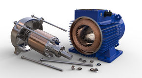 Öppnad elektrisk motor royaltyfri illustrationer