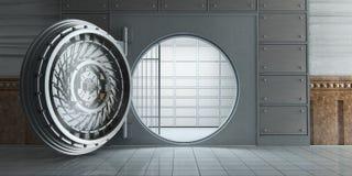 Öppnad enorm tom främre sikt för bankvalv Arkivbilder