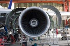 öppnad flygplanmotor Arkivfoto