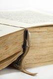 Öppnad gammal bok med gula sidorna Royaltyfria Foton