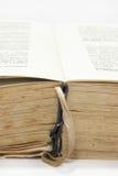 Öppnad gammal bok med gula sidorna Royaltyfri Fotografi