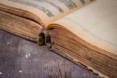 Öppnad gammal bok på en trätabell Fotografering för Bildbyråer