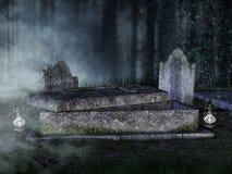 Öppnad gravvalv i en kyrkogård Arkivbild