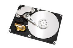 Öppnad harddisk som isoleras på vit Royaltyfri Bild