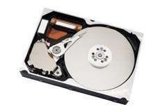 Öppnad harddisk som isoleras på vit Royaltyfria Foton