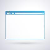 Öppnad mall för webbläsarefönster på ljus bakgrund för din design och din text Arkivbild