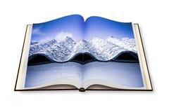 Öppnad photobook med bild av ett farligt asbesttak Arkivbilder