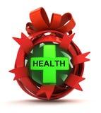 Öppnad röd bandgåvasfär med det gröna hälsokorset inom stock illustrationer