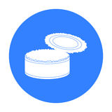 Öppnad symbol för tenn- can för metall i svart stil som isoleras på vit bakgrund Vektor för avfall- och avskrädesymbolmateriel Royaltyfria Bilder