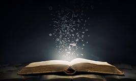 Öppnade bok och tecken Fotografering för Bildbyråer