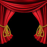 Öppnade gardiner på svart bakgrund Fotografering för Bildbyråer