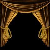 Öppnade guldgardiner på svart bakgrund Royaltyfria Bilder