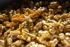 Öppnade hasselnötter i en ask i en closeup arkivfoto