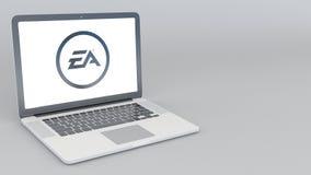 Öppnande och stängande bärbar dator med den Electronic Arts logoen tolkning 4K redaktörs- 3D Royaltyfri Foto