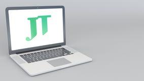 Öppnande och stängande bärbar dator med den Japan Tobacco logoen tolkning 4K redaktörs- 3D Arkivbild