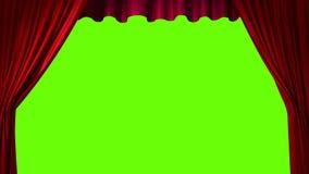 Öppnande och stängande röd gardin