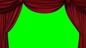 Öppnande och stängande röd gardin med strålkastare royaltyfri illustrationer