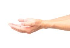 Öppnar tomma händer för man på vit bakgrund med den snabba banan Arkivfoto